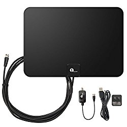 1byone Amplified HDTV Antenna – 50 Mile Range with Detachable Amplifier USB Power Supply and 10ft Coax Cable