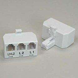 Installerparts RJ11 6P4C Line Splitter — Line1/Line2/Line1+Line2 – White