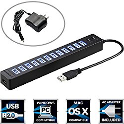 Sabrent 13 Port High Speed USB 2.0 Hub with Power Adapter And 2 Control Switches (HB-U14P)
