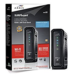 ARRIS SURFboard SBG6580 DOCSIS 3.0 Cable Modem/ Wi-Fi N300 2.4Ghz + N300 5GHz Dual Band Router – Retail Packaging Black (570763-006-00)