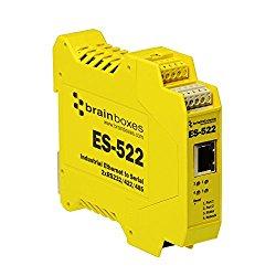 Brainboxes Device server – 2 ports – 10Mb LAN, 100Mb LAN, RS-232, RS-422, RS-485 (ES-522)
