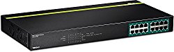 TRENDnet 16-Port Gigabit PoE+ Switch, 246 Watt PoE Budget, 32 Gbps Switching Capacity, Rack Mountable with Hardware Included, LED Indicators, Automatically Recognize PoE Cameras, TPE-TG160G