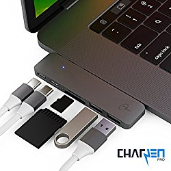 CharJenPro CERTIFIED USB C Hub Premium MacStick USB C Adapter for Apple Macbook Pro | Thunderbolt 3 (TB3) 40GB/S data, 5K@60Hz video, Type C, 2 USB 3.0, SD and Micro SD Card Reader | Space Gray