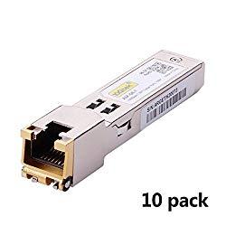 10Gtek for Cisco Compatible GLC-T/SFP-GE-T, Gigabit RJ45 Copper SFP, 1000Base-T Transceiver Module, Pack of 10
