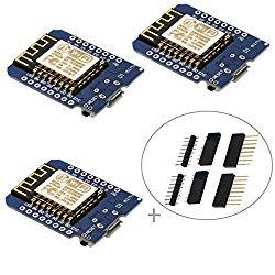 IZOKEE D1 Mini NodeMcu Lua 4M Bytes WLAN WiFi Internet Development Board Base on ESP8266 ESP-12F for Arduino, 100% Compatible with WeMos D1 Mini (Pack of 3)