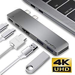 PureFix USB C Hub, Fastest 40Gb/s Type-C 5 in 1 Multi-Port Hub Adapter for MacBook Pro 13″ / 15″ with Thunderbolt 3, 2 USB 3.1 Ports and 4K HDMI Out, Pass-Through Charging (Space Grey)