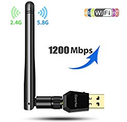 Carantee USB WiFi Adapter 1200Mbps, [2019 Upgrade] Wireless Network WiFi Dongle with 5dBi Antenna for PC/Desktop/Laptop/Mac, Dual Band 2.4G/5G 802.11ac,Support WinXP/7/8/10/vista, Mac10.6-10.13
