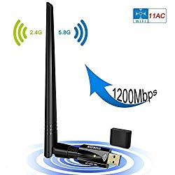 USB Wifi Adapter 1200Mbps, ANEWISH Wireless Adapter USB3.0 Dual Band 11ac(2.4GHz/300Mbps 5GHz/867Mbps)Network Lan Card Dongle for PC Desktop Laptop, Support Windows 10/8.1/8/7/XP, Linux, Mac