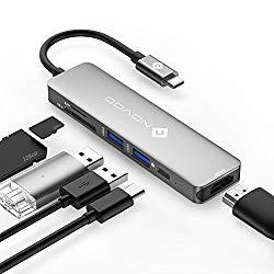 USB C Hub NOVOO USB Type C Hub 6 in 1 USB-C Hub Adapter Thunderbolt 3 Hub Dock MacBook Adapter with 4K HDMI, 60W USB C PD Charging Port, 2 USB 3.0 Ports, SD/TF Card Reader for MacBook Pro Air 2018