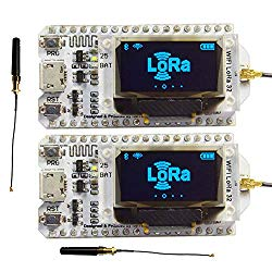 2Sets 868MHz-915MHz SX1276 ESP32 WiFi Bluetooth LoRa Module Development Board with 0.96 OLED Display & Antenna Transceiver IOT for Arduino LoraWan Internet of Thing WIshioT