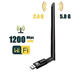 USB Wifi Adapter 1200Mbps ZTESY USB 3.0 Wifi Dongle 802.11 ac WirelessNetwork Adapter with Dual Band 2.4GHz/300Mbps+5GHz/866Mbps 5dBi High Gain Antenna for Desktop Windows XP/Vista/7/8/10 Linux Mac