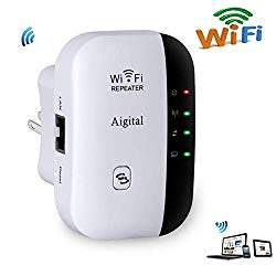Aigital WiFi Extender 300 Mbps Wireless Repeater Internet Signal Range Booster Adapter, Easy Setup WLAN Network Amplifier Access Point Dongle WiFi Blast – 2.4GHz WPS Function New Chip