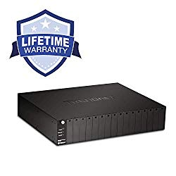 TRENDnet 16-Bay Fiber Converter Chassis System, Hot Swappable, Housing for up to 16 TFC Series Media Converters, Fast Ethernet RJ45, RS-232, SNMP Management Module, Lifetime Protection, TFC-1600