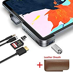 Invisible USB C Hub for iPad Pro, Stouchi 6 in 1 – USB 3.1 (5Gb/s), 4K HDMI, 3.5mm Headphone and Micro/SD Card Readers with a Leather Sheath Compatible 2018 iPad Pro and More