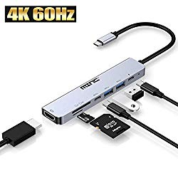 USB C Hub Adapter Dongle for MacBook Air, MacBook Pro with 4K 60Hz HDMI, 87W Power Delivery, 2 USB Ports and SD/TF Card Reader