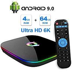 TUREWELL Android 9.0 TV Box, Q Plus Android TV Box Quad Core H6 4GB RAM 64GB ROM Smart tv Box Support 3D 6k Ultra HD 2.4GHz WiFi Ethernet 10/100M HDMI Output