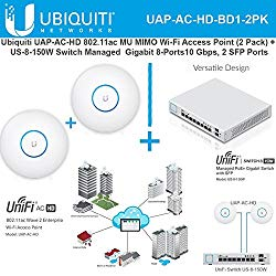 Ubiquiti UAP-AC-HD 802.11ac UniFi Access Point(2pk) + Switch PoE+ Gigabit 8Port