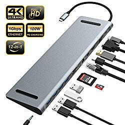 Updated Version USB C Hub, YEMO 12 in 1 Type C Hub Dongle to Ethernet, 4K HDMI & Mini DP, VGA,4 USB3.0/75W PD/SD&TF Card Reader/Mic&Audio for Mac Book&Type C Laptops