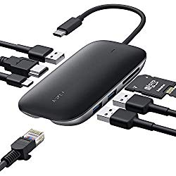 USB C Hub AUKEY 8 in 1 USB Type C Hub Adapter Ethernet Port, 4K USB C to HDMI, 3 USB 3.0 Ports, 100W USB C Power Delivery Charging, SD/TF Card Reader for MacBook Pro Air, Chromebook Pixel Laptop Phone