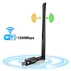 USB WiFi Adapter 1200Mbps, USB 3.0 Wireless Network WiFi Dongle with 5dBi Antenna for Desktop Laptop PC Mac,Dual Band 2.4G/5G 802.11ac,Support Windows 10/8/8.1/7/Vista/XP,MacOS 10.5-10.15