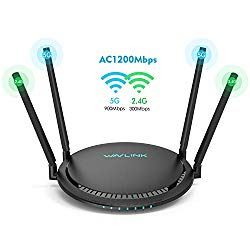 AC1200 Smart WiFi Router – WAVLINK 1200Mbps TouchLink Smart Dual Band Gigabit Wireless Internet Router,5Ghz + 2.4Ghz with 4x5dBi Omni Directional Antennas WiFi Router for Online Game&HD Video