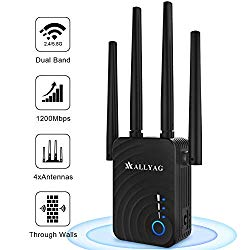ALLYAG WiFi Extenders Signal Booster | 1200Mbps Routers for Wireless Internet | 4 WiFi Antenna 360 Full Coverage Network, 2.4&5GHz Dual Band WiFi Repeater Range Extender | Compatible with Smart Home