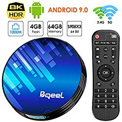 Android TV Box 9.0 4GB RAM 64GB ROM, Bqeel TV Box Android S905X3 Quad-Core 64bit with Dual-WiFi 2.4GHz/5GHz, 3D Ultra HD 8K H.265 1000M, BT 4.0 USB 3.0 Smart TV Box