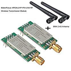 MakerFocus 2pcs nRF24L01P+PA+LNA RF Wireless Transmission Module 2.4GHz ML01DP5 22dBm 100mW 2300M Measured Distance SPI Interface with Antenna Anti Theft Anti-Interference