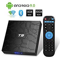 T9 Android 9.0 TV Box 4GB DDR3 RAM 32GB ROM RK3318 Bluetooth 4.0 Quad-Core Cortex-A53 64 Bits Support Dual WiFi 2.4G/5G 4K 3D Ultra HD HDMI H.265