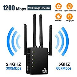 WiFi Range Extender, 1200Mbps WiFi Repeater Dual Band Signal Extender AC1200 Access Point Wireless External Antennas Internet Signal Booster with Gigabit Ethernet Port (Black)