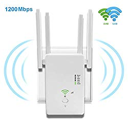 WiFi Range Extender Amplifier Wireless Signal Booster Up to 1200Mbp, 2.4 & 5GHz Dual Band with Repeater/AP/Router/with Access Ethernet Port Easy Set-Up and Usage