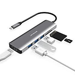 USB C Hub, LETSCOM 6 in 1 USB C Adapter with 4K HDMI, 3 USB 3.0 Ports, SD/TF Card Reader Compatible for USB C Devices