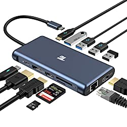 USB C Hub,Tiergrade 12 in 1 Triple Display Adapter with 2 4K HDMI,DisplayPort,PD 3.0,Ethernet,USB-A USB-C Ports,TF/SD Card Reader for MacBook and Type-C Laptops(Windows Laptops Support Triple Display)